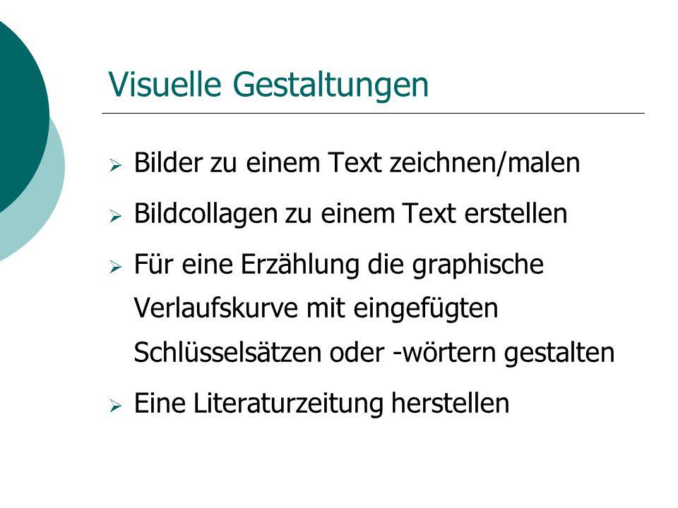 Visuelle Gestaltungen  Bilder zu einem Text zeichnen/malen  Bildcollagen zu einem Text erstellen  Für eine Erzählung die graphische Verlaufskurve m