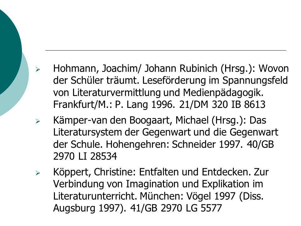  Hohmann, Joachim/ Johann Rubinich (Hrsg.): Wovon der Schüler träumt. Leseförderung im Spannungsfeld von Literaturvermittlung und Medienpädagogik. Fr