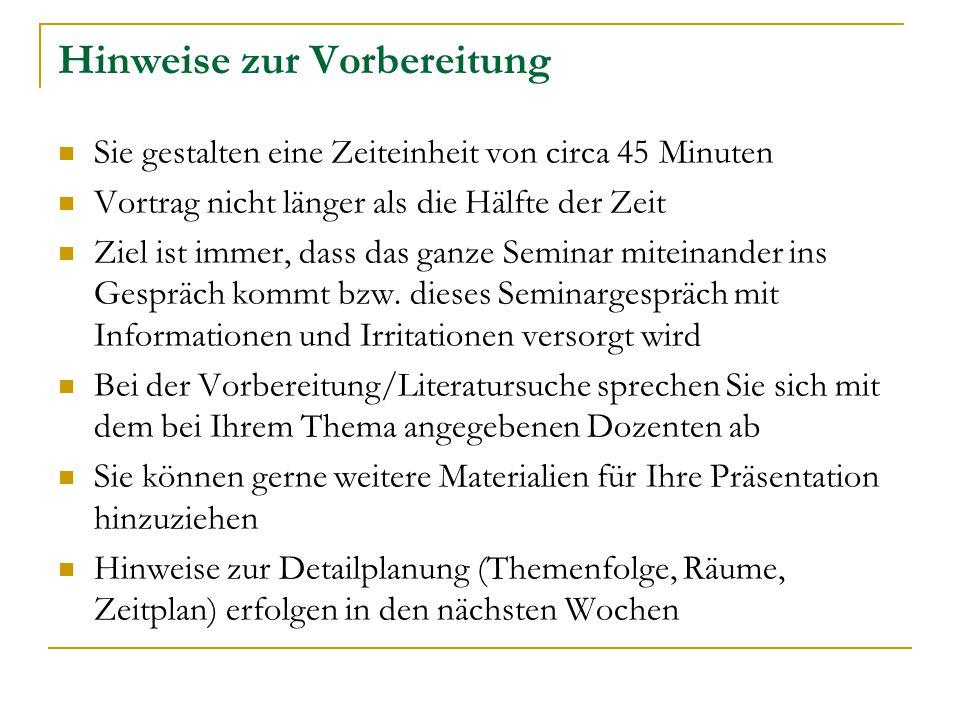 Organisatorisches Teilnahmevoraussetzung: Drei Erfahrungen (bis 5.11.2008) Zweite Veranstaltung (10.11.2008): Gruppenbildung und Literatur Blockveranstaltung (9.-11.1.2009) Schein: Drei Erfahrungen, Teilnahme, 5-seitiges Essay zur Blockveranstaltung