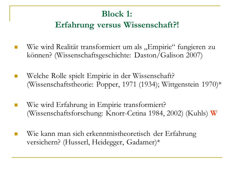 """Block 1: Erfahrung versus Wissenschaft?! Wie wird Realität transformiert um als """"Empirie"""" fungieren zu können? (Wissenschaftsgeschichte: Daston/Galiso"""