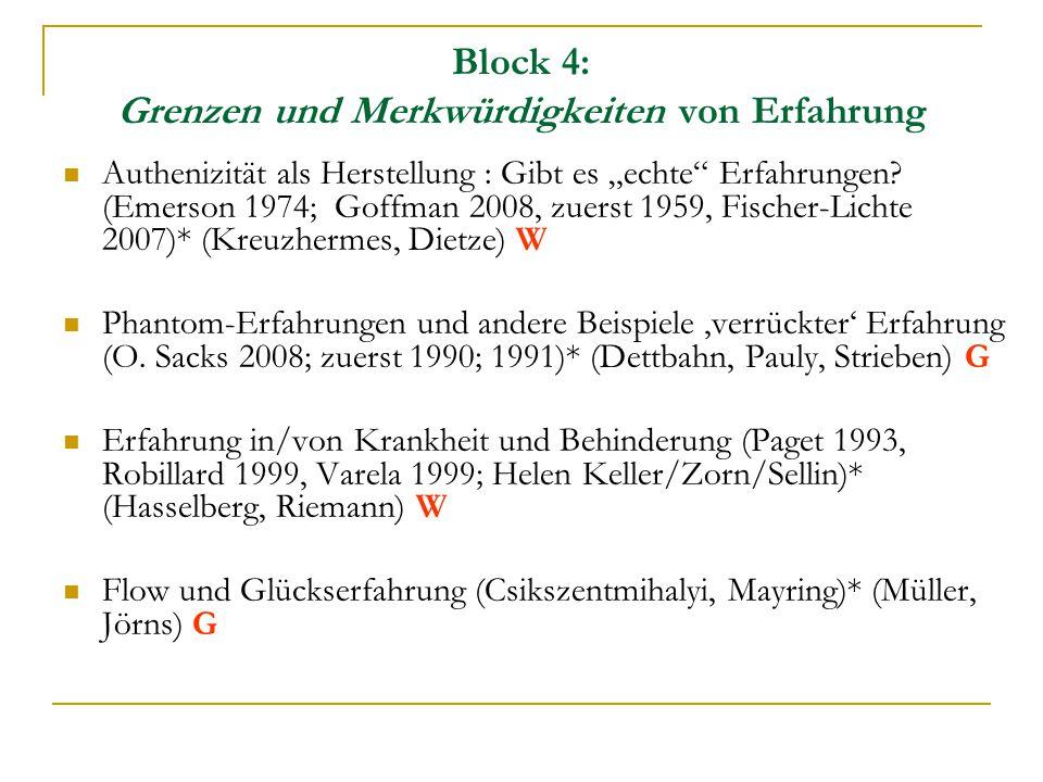Block 5: Techniken zur 'Steigerung' von Erfahrung Erziehung durch und für Erfahrung (Dewey 1934, Bollnow 1968, Englisch 2006, Giesecke 1995)* (Walte, Lange, Hansen) W Erlebnispädagogik (Hecht, eigene Einheit) Achtsames Management von Gruppen und Organisationen (Weick 1995; Weick/Sutcliffe 2003, 2007)* (Paulin, Schnerch) W Erfahrung und Drogen (Huxley 1964, Castaneda, Leary und andere aus der Kulturgeschichte und Ethnologie)* (Ropers, Dellinger, Rittner, Kwiatkowski) G