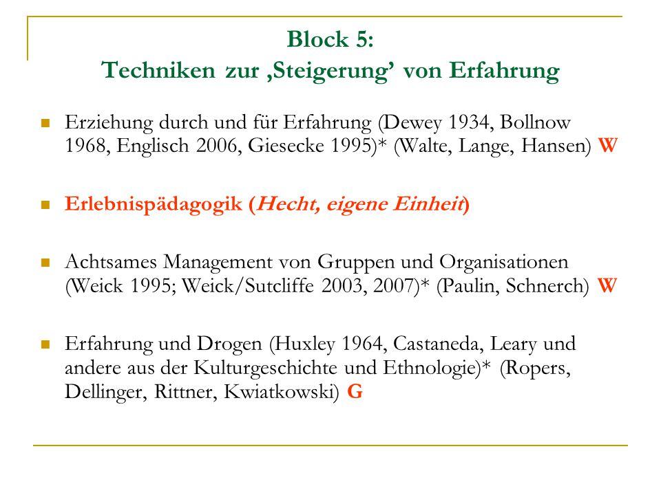 Block 5: Techniken zur 'Steigerung' von Erfahrung Erziehung durch und für Erfahrung (Dewey 1934, Bollnow 1968, Englisch 2006, Giesecke 1995)* (Walte,