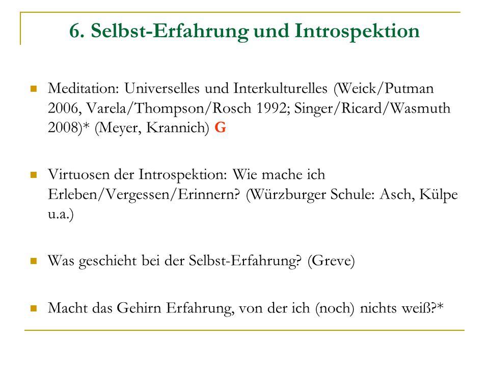 6. Selbst-Erfahrung und Introspektion Meditation: Universelles und Interkulturelles (Weick/Putman 2006, Varela/Thompson/Rosch 1992; Singer/Ricard/Wasm