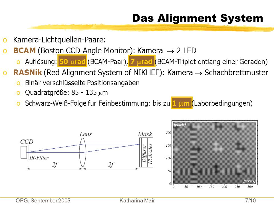 ÖPG, September 2005 Katharina Mair 7/10 Das Alignment System oKamera-Lichtquellen-Paare: oBCAM (Boston CCD Angle Monitor): Kamera  2 LED oAuflösung: