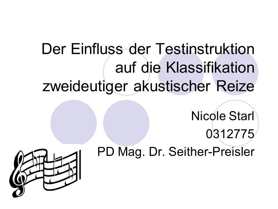 Der Einfluss der Testinstruktion auf die Klassifikation zweideutiger akustischer Reize Nicole Starl 0312775 PD Mag.