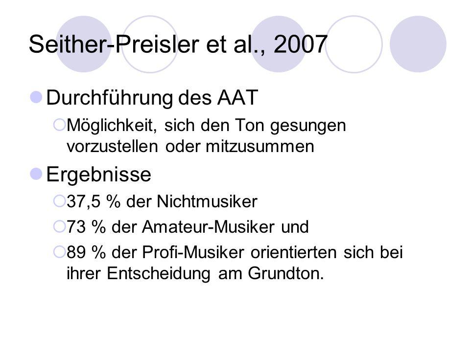 Seither-Preisler et al., 2007 Durchführung des AAT  Möglichkeit, sich den Ton gesungen vorzustellen oder mitzusummen Ergebnisse  37,5 % der Nichtmusiker  73 % der Amateur-Musiker und  89 % der Profi-Musiker orientierten sich bei ihrer Entscheidung am Grundton.