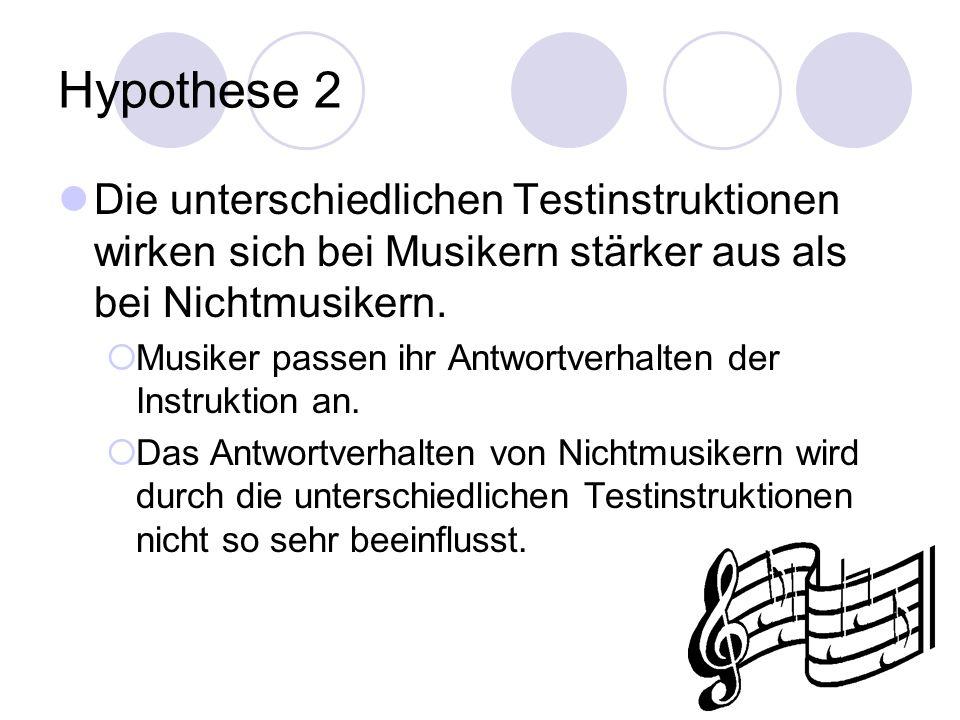 Hypothese 2 Die unterschiedlichen Testinstruktionen wirken sich bei Musikern stärker aus als bei Nichtmusikern.