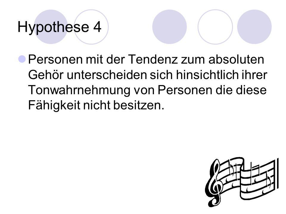 Hypothese 4 Personen mit der Tendenz zum absoluten Gehör unterscheiden sich hinsichtlich ihrer Tonwahrnehmung von Personen die diese Fähigkeit nicht besitzen.
