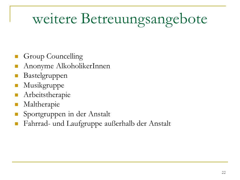 22 weitere Betreuungsangebote Group Councelling Anonyme AlkoholikerInnen Bastelgruppen Musikgruppe Arbeitstherapie Maltherapie Sportgruppen in der Anstalt Fahrrad- und Laufgruppe außerhalb der Anstalt