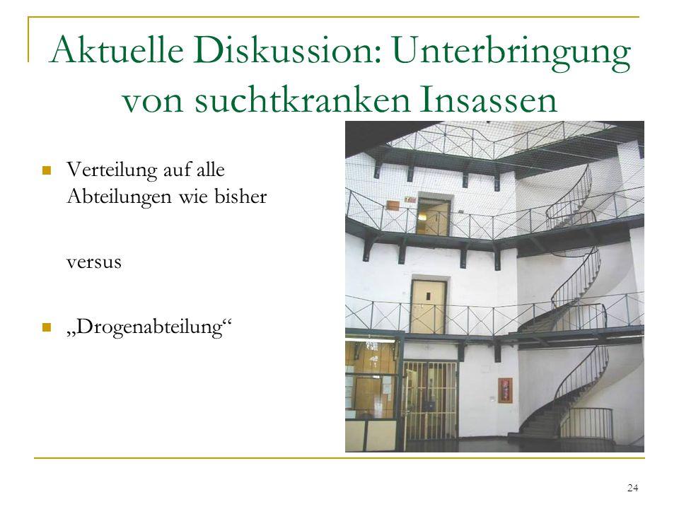 """24 Aktuelle Diskussion: Unterbringung von suchtkranken Insassen Verteilung auf alle Abteilungen wie bisher versus """"Drogenabteilung"""