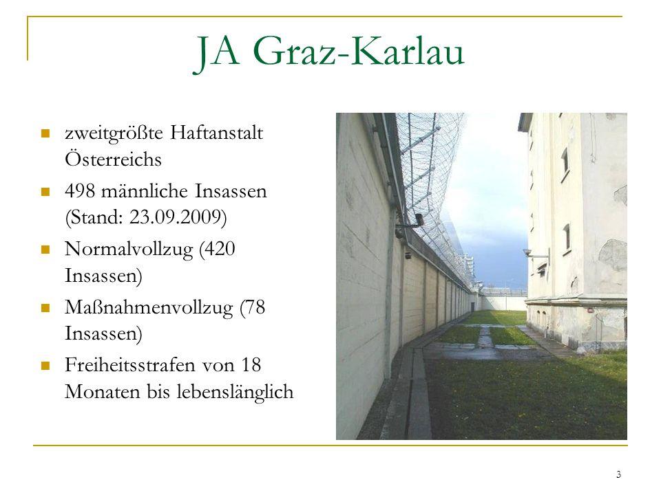 3 zweitgrößte Haftanstalt Österreichs 498 männliche Insassen (Stand: 23.09.2009) Normalvollzug (420 Insassen) Maßnahmenvollzug (78 Insassen) Freiheitsstrafen von 18 Monaten bis lebenslänglich