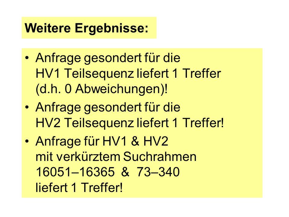 Weitere Ergebnisse: Anfrage gesondert für die HV1 Teilsequenz liefert 1 Treffer (d.h. 0 Abweichungen)! Anfrage gesondert für die HV2 Teilsequenz liefe