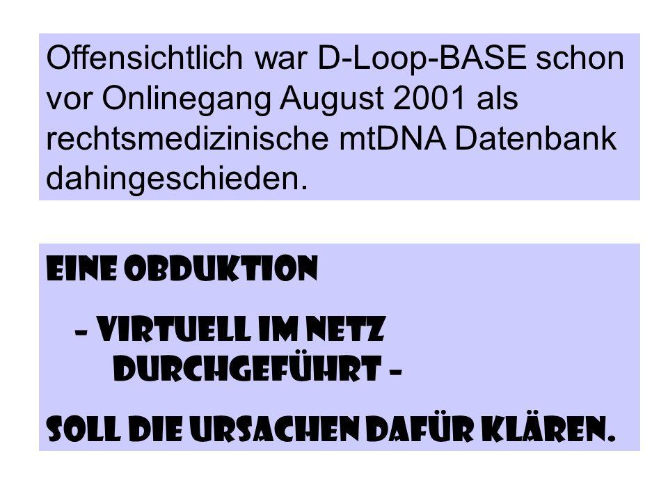 Offensichtlich war D-Loop-BASE schon vor Onlinegang August 2001 als rechtsmedizinische mtDNA Datenbank dahingeschieden. Eine Obduktion – virtuell im N