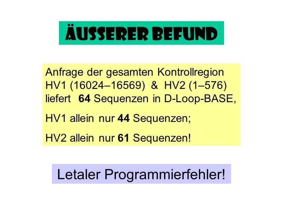 Äußerer Befund Anfrage der gesamten Kontrollregion HV1 (16024–16569) & HV2 (1–576) liefert 64 Sequenzen in D-Loop-BASE, HV1 allein nur 44 Sequenzen; H