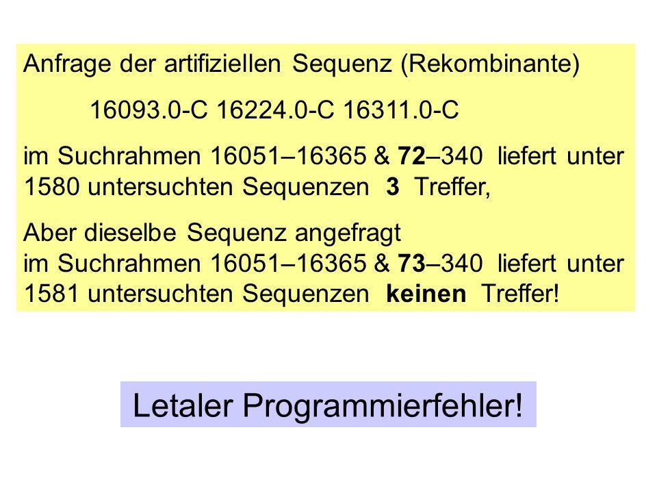 Anfrage der artifiziellen Sequenz (Rekombinante) 16093.0-C 16224.0-C 16311.0-C im Suchrahmen 16051–16365 & 72–340 liefert unter 1580 untersuchten Sequ