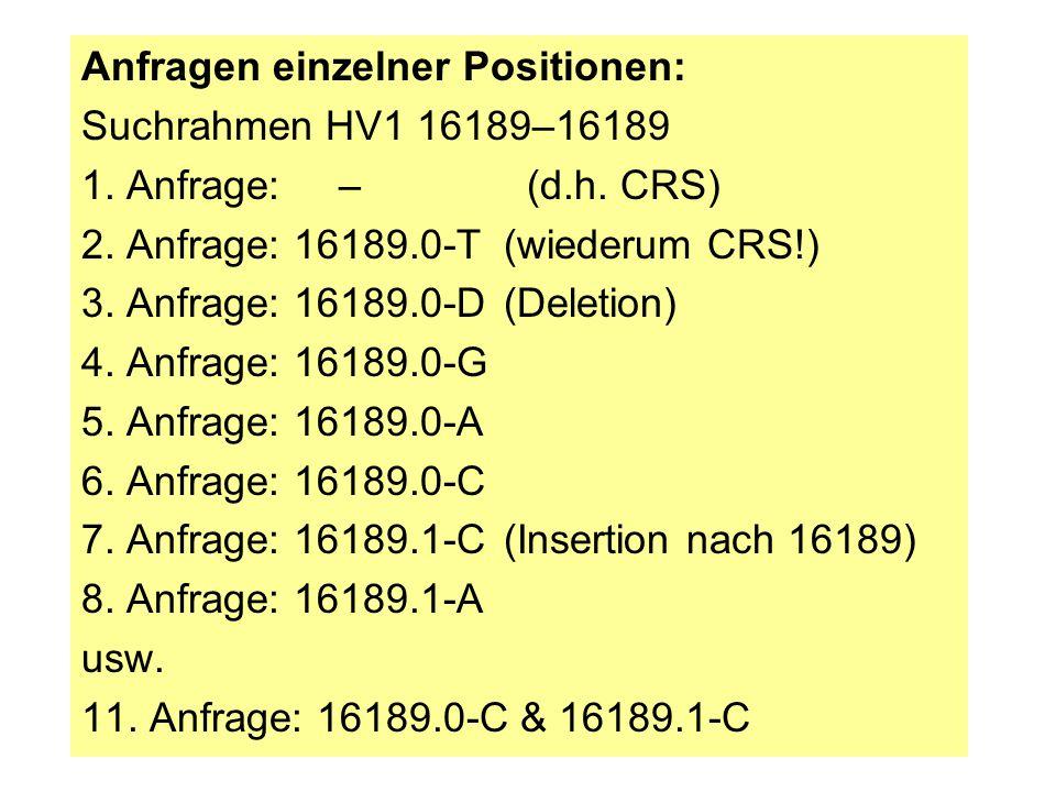 Anfragen einzelner Positionen: Suchrahmen HV1 16189–16189 1. Anfrage: – (d.h. CRS) 2. Anfrage: 16189.0-T(wiederum CRS!) 3. Anfrage: 16189.0-D(Deletion