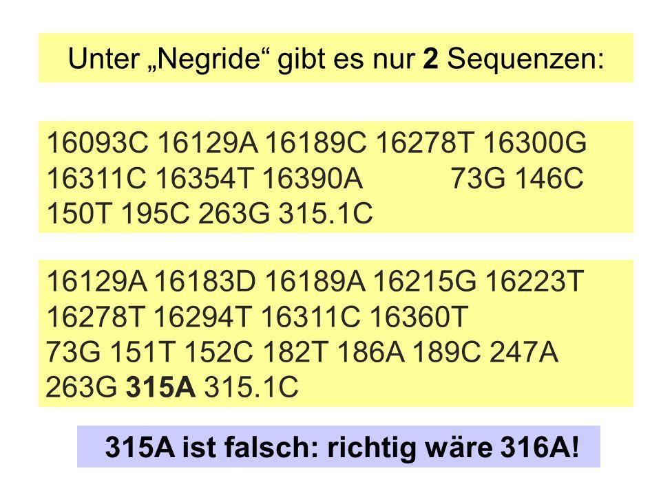 """Unter """"Negride"""" gibt es nur 2 Sequenzen: 16093C 16129A 16189C 16278T 16300G 16311C 16354T 16390A 73G 146C 150T 195C 263G 315.1C 16129A 16183D 16189A 1"""