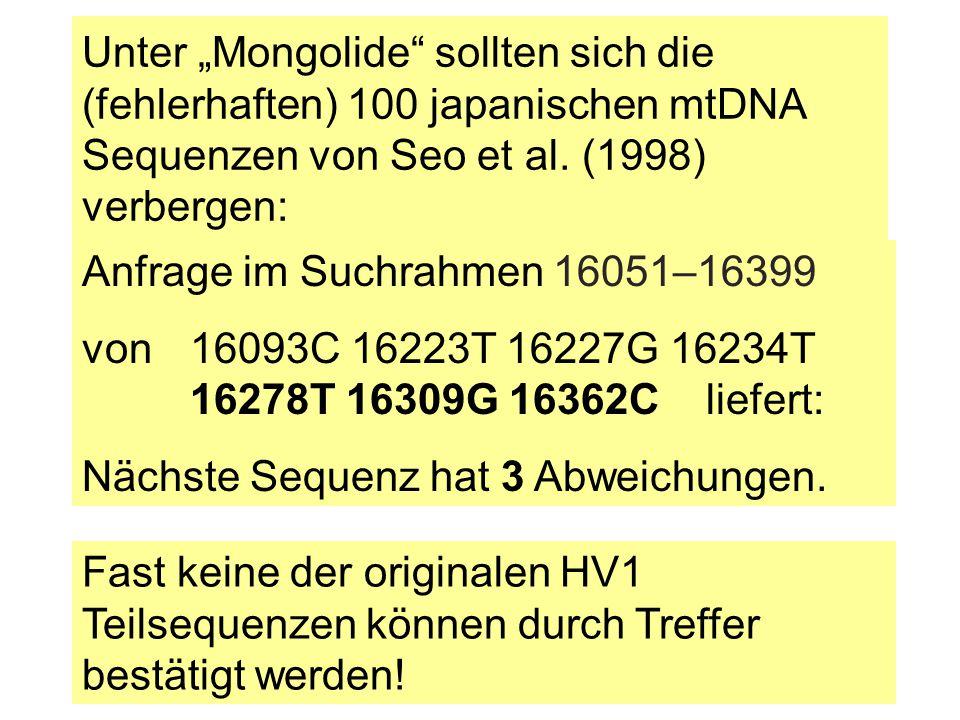 """Unter """"Mongolide"""" sollten sich die (fehlerhaften) 100 japanischen mtDNA Sequenzen von Seo et al. (1998) verbergen: Anfrage im Suchrahmen 16051–16399 v"""
