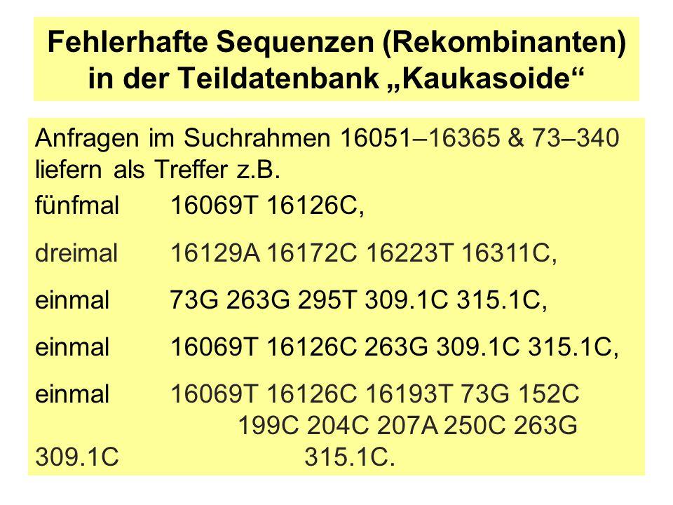 """Fehlerhafte Sequenzen (Rekombinanten) in der Teildatenbank """"Kaukasoide"""" fünfmal16069T 16126C, dreimal 16129A 16172C 16223T 16311C, einmal 73G 263G 295"""