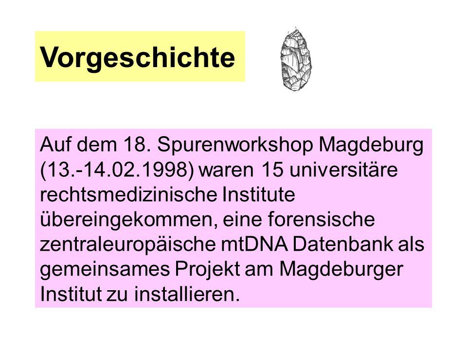 Vorgeschichte Auf dem 18. Spurenworkshop Magdeburg (13.-14.02.1998) waren 15 universitäre rechtsmedizinische Institute übereingekommen, eine forensisc