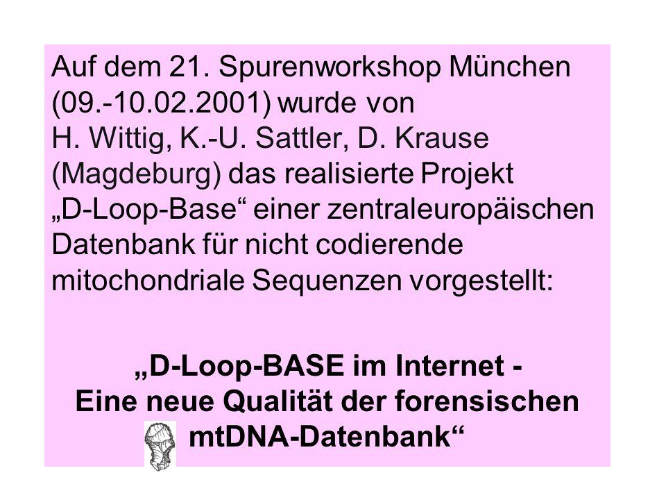 """Auf dem 21. Spurenworkshop München (09.-10.02.2001) wurde von H. Wittig, K.-U. Sattler, D. Krause (Magdeburg) das realisierte Projekt """"D-Loop-Base"""" ei"""