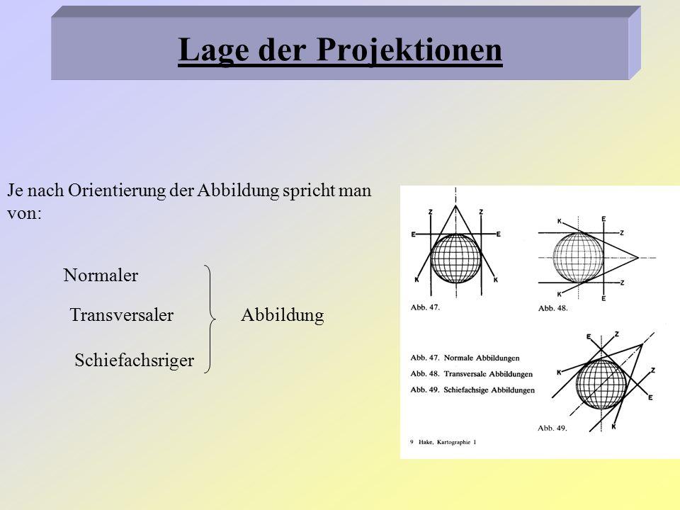 Normale Abbildung: Abbildungsachse verläuft durch den Nordpol Transversale Abbildung: Achse fällt in die Äquatorebene Schiefachsrige Abbildung: Erdachse und Abbildungsachse schließen einen beliebigen Winkel miteinander ein Lage der Projektionen