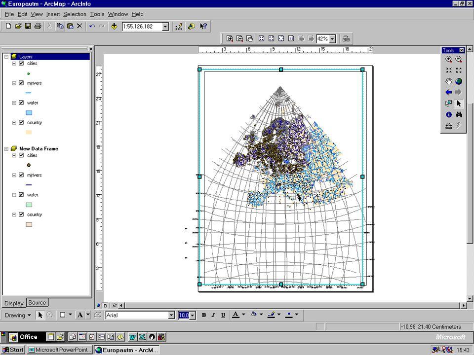 Aufgabe1 1.)Erstelle eine Karte von Canada, indem du aus dem Verzeichnis D:\GIS-DATA\ESRI\DATA_AND_MAPS\Canada die Shapefiles cities province rivers lakes einfügst und entsprechend bearbeitest.