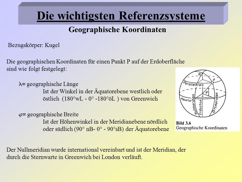 Geodätische Koordinaten 1.) Gauß-Krüger-Koordinaten Bezugskörper: Besselellipsoid Bei zunehmender Abweichung von Hauptmeridian sind Verzerrungen zu groß Darstellung der Meridiane 6°,9°,12° usw.
