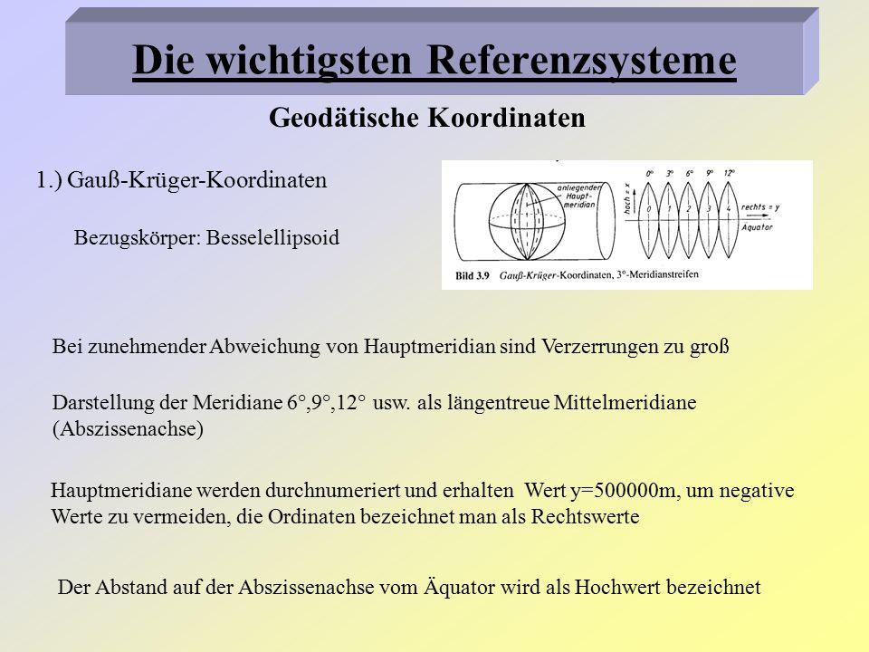 2.) UTM-Koordinaten Bezugskörper: Hayfordellipsoid Abbildung zweier Schnittkurven im Abstand von 180km vom Mittelmeridian Darstellung der Hauptmeridiane in 6° breiten Streifen (Zonen, für Deutschland gelten Zone 31, 32, 33) Koordinaten werden mit North und East bezeichnet Verkleinerung des Bereichs zwischen den Schnittkurven Vergrößerung des Bereichs außerhalb der Schnittkurven Geodätische Koordinaten Die wichtigsten Referenzsysteme