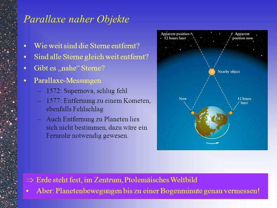 """Parallaxe naher Objekte Wie weit sind die Sterne entfernt? Sind alle Sterne gleich weit entfernt? Gibt es """"nahe"""" Sterne? Parallaxe-Messungen –1572: Su"""