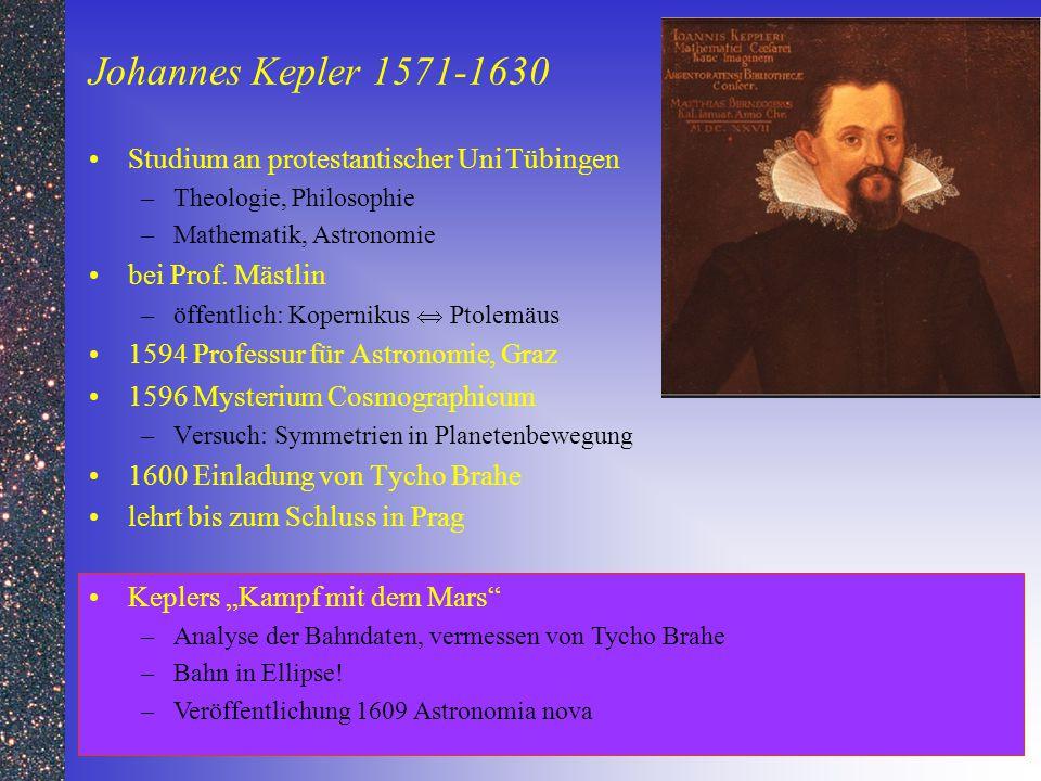 Johannes Kepler 1571-1630 Studium an protestantischer UniTübingen –Theologie, Philosophie –Mathematik, Astronomie bei Prof. Mästlin –öffentlich: Koper