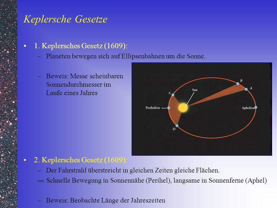 Keplersche Gesetze 1. Keplersches Gesetz (1609): –Planeten bewegen sich auf Ellipsenbahnen um die Sonne. –Beweis: Messe scheinbaren Sonnendurchmesser