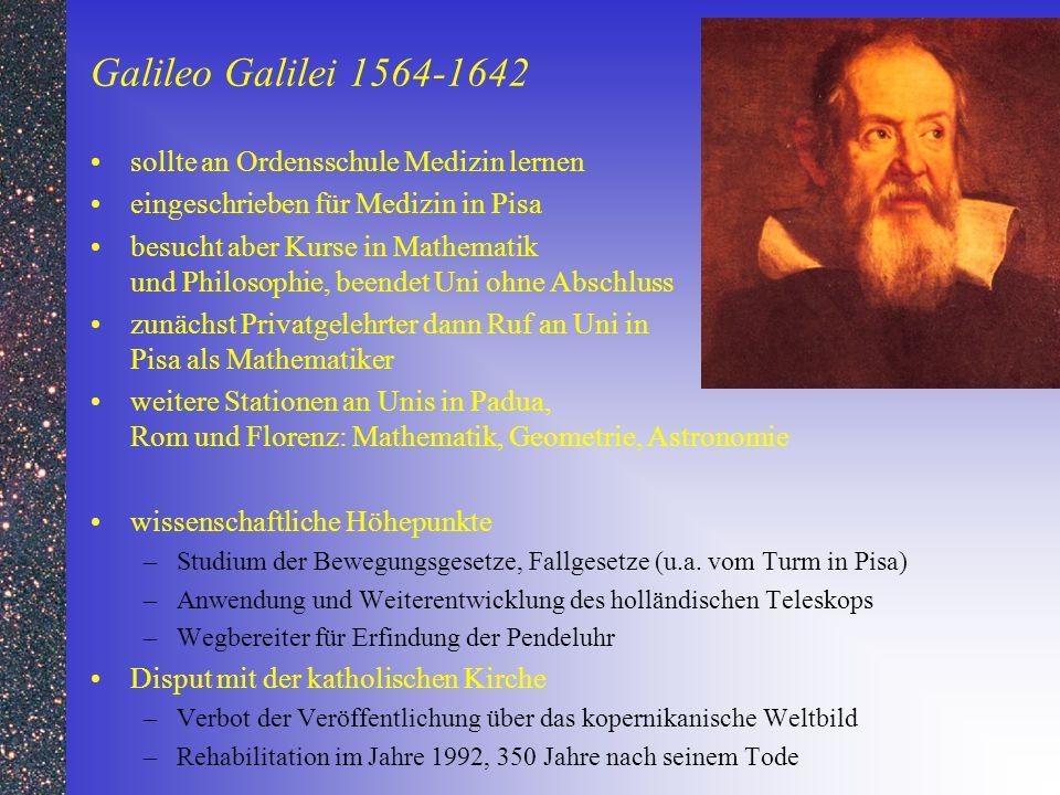 Galileo Galilei 1564-1642 sollte an Ordensschule Medizin lernen eingeschrieben für Medizin in Pisa besucht aber Kurse in Mathematik und Philosophie, b