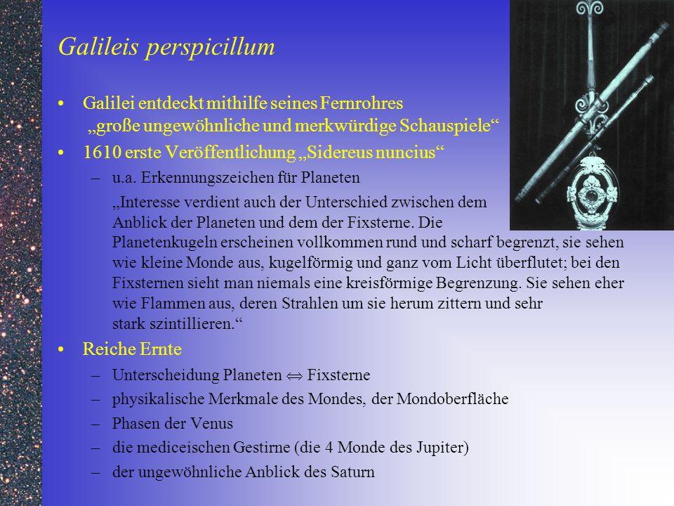 """Galileis perspicillum Galilei entdeckt mithilfe seines Fernrohres """"große ungewöhnliche und merkwürdige Schauspiele"""" 1610 erste Veröffentlichung """"Sider"""