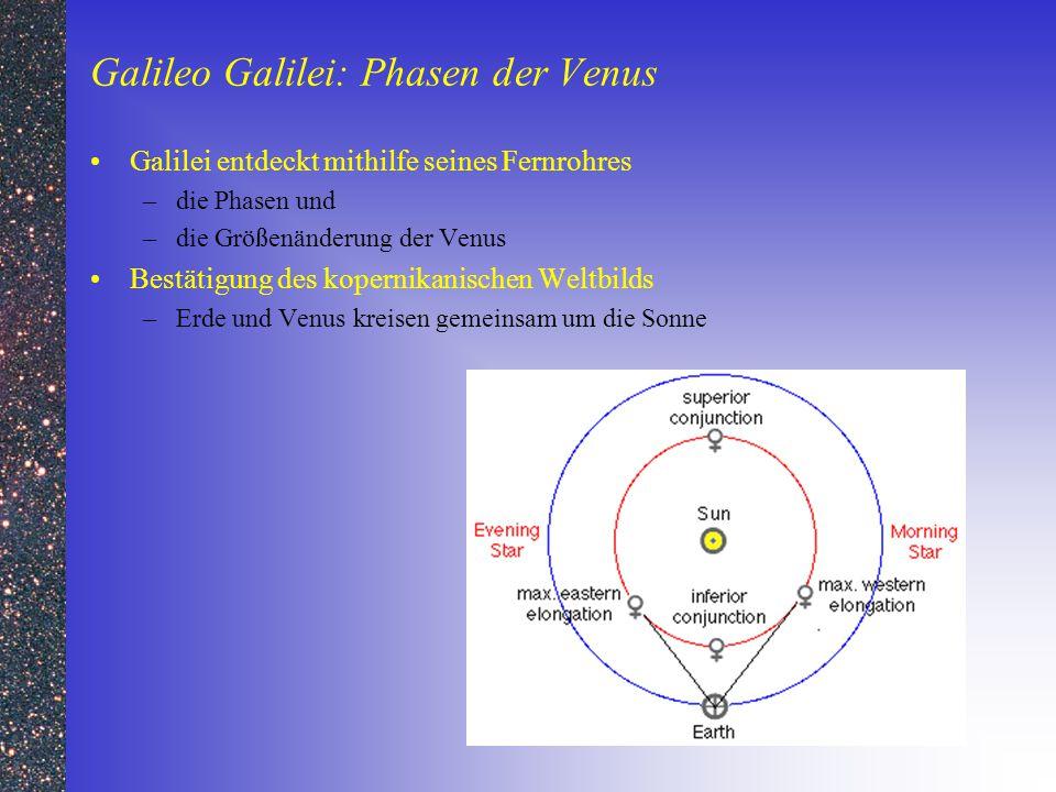 Galileo Galilei: Phasen der Venus Galilei entdeckt mithilfe seines Fernrohres –die Phasen und –die Größenänderung der Venus Bestätigung des kopernikan
