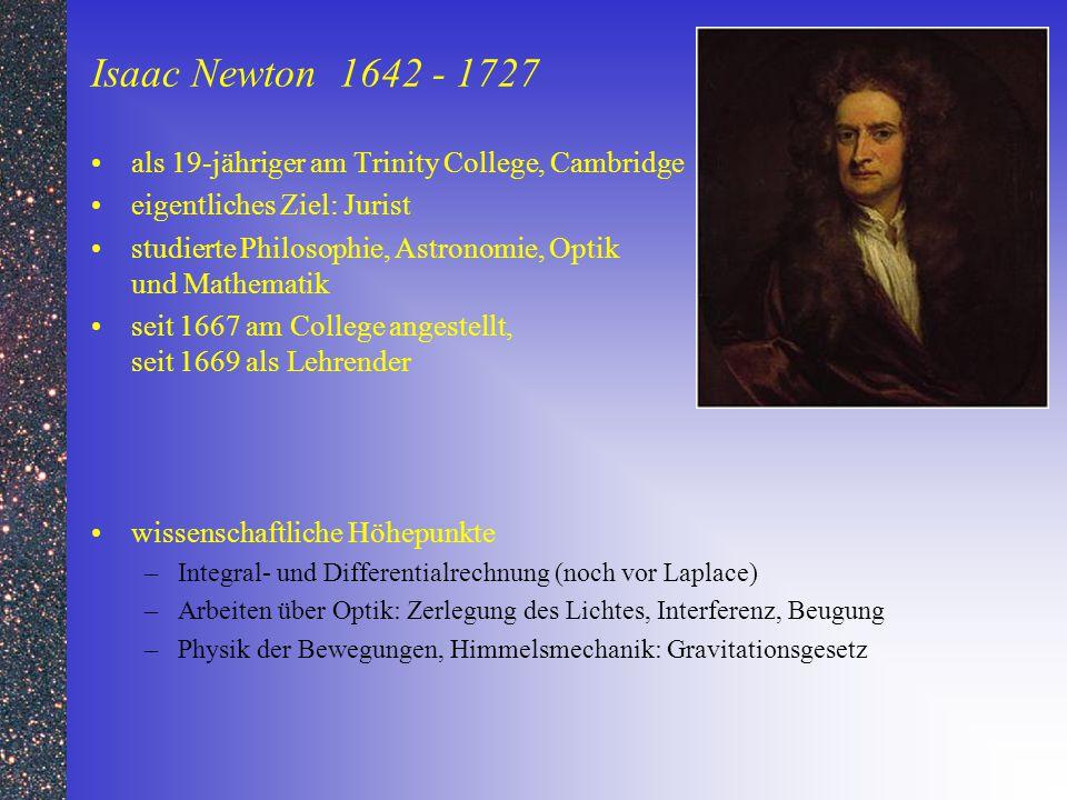 Isaac Newton 1642 - 1727 als 19-jähriger am Trinity College, Cambridge eigentliches Ziel: Jurist studierte Philosophie, Astronomie, Optik und Mathemat