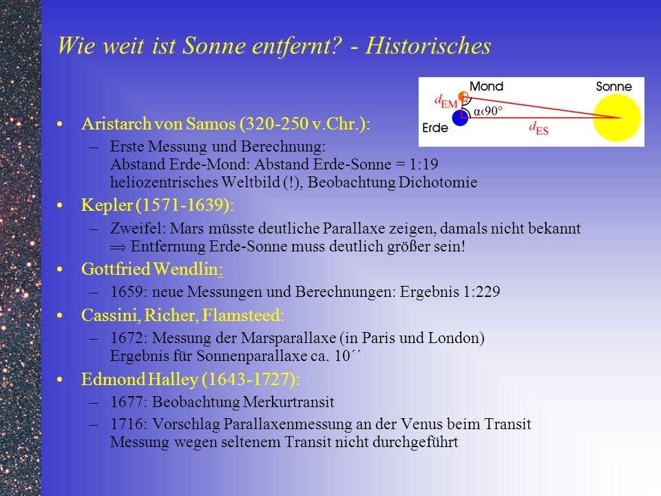 Wie weit ist Sonne entfernt? - Historisches Aristarch von Samos (320-250 v.Chr.): –Erste Messung und Berechnung: Abstand Erde-Mond: Abstand Erde-Sonne