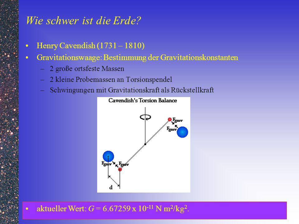 Wie schwer ist die Erde? Henry Cavendish (1731 – 1810) Gravitationswaage: Bestimmung der Gravitationskonstanten –2 große ortsfeste Massen –2 kleine Pr