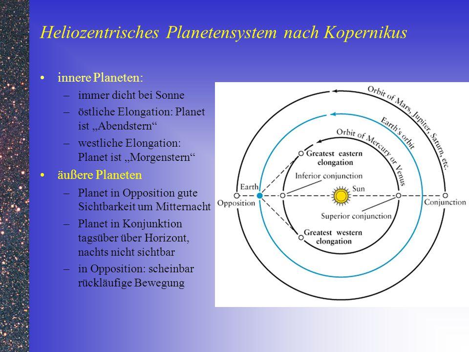 """Heliozentrisches Planetensystem nach Kopernikus innere Planeten: –immer dicht bei Sonne –östliche Elongation: Planet ist """"Abendstern"""" –westliche Elong"""
