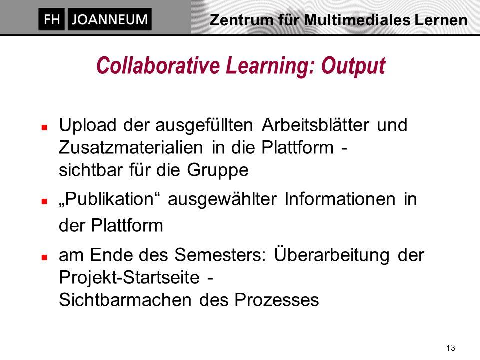 """Zentrum für Multimediales Lernen 13 Collaborative Learning: Output n Upload der ausgefüllten Arbeitsblätter und Zusatzmaterialien in die Plattform - sichtbar für die Gruppe n """"Publikation ausgewählter Informationen in der Plattform n am Ende des Semesters: Überarbeitung der Projekt-Startseite - Sichtbarmachen des Prozesses"""