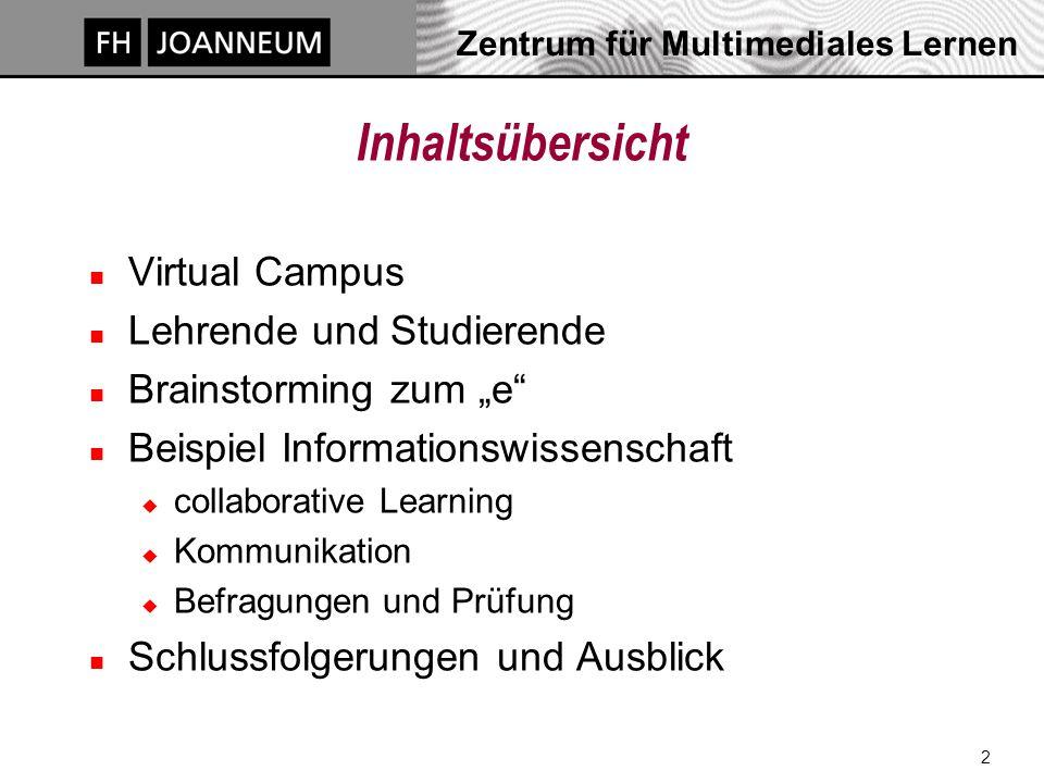 Zentrum für Multimediales Lernen 3 Virtueller Campus http://virtual-campus.fh-joanneum.at n 1996: Pilotprojekt zu e-Learning n ab 1997 Virtual Campus n derzeit 18 Studiengänge u didaktische und konzeptionelle Beratung u Lernplattform WebCT u Websites, Diskussionsforum, Datenbank