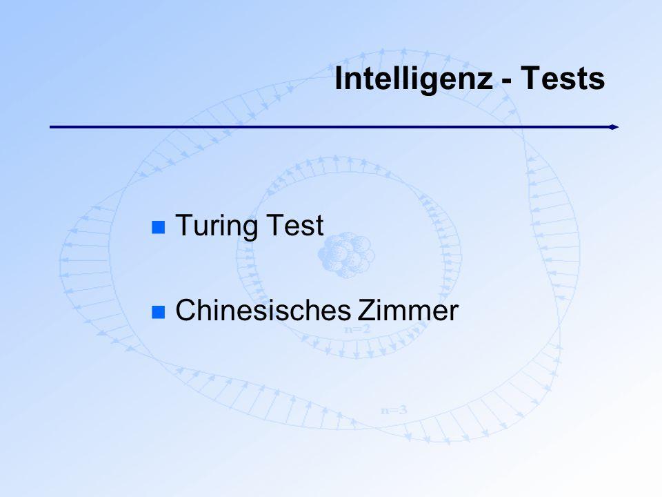 Intelligenz - Tests n Turing Test n Chinesisches Zimmer