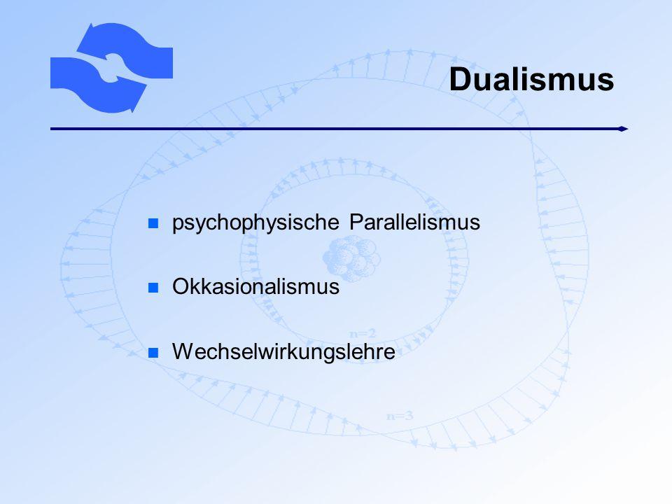 Dualismus n psychophysische Parallelismus n Okkasionalismus n Wechselwirkungslehre