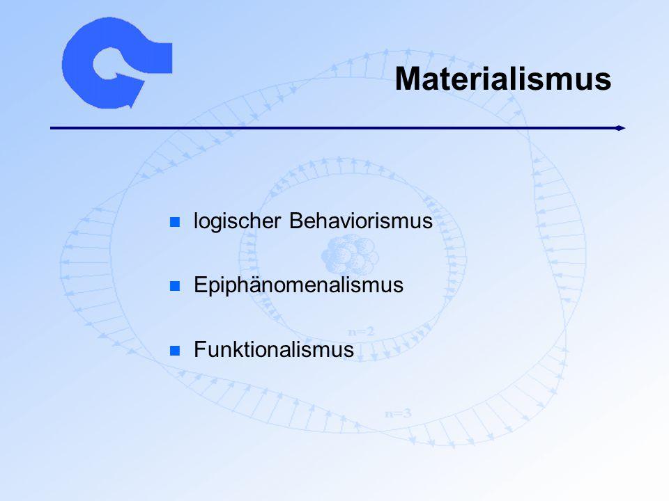 Materialismus n logischer Behaviorismus n Epiphänomenalismus n Funktionalismus