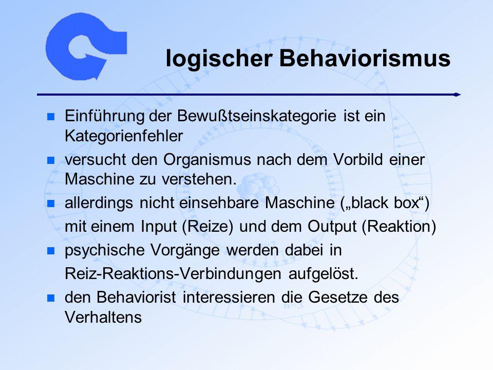 logischer Behaviorismus n Einführung der Bewußtseinskategorie ist ein Kategorienfehler n versucht den Organismus nach dem Vorbild einer Maschine zu ve