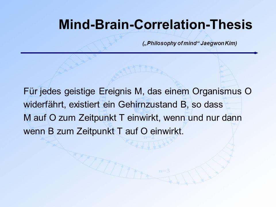 """Mind-Brain-Correlation-Thesis (""""Philosophy of mind"""" Jaegwon Kim) Für jedes geistige Ereignis M, das einem Organismus O widerfährt, existiert ein Gehir"""
