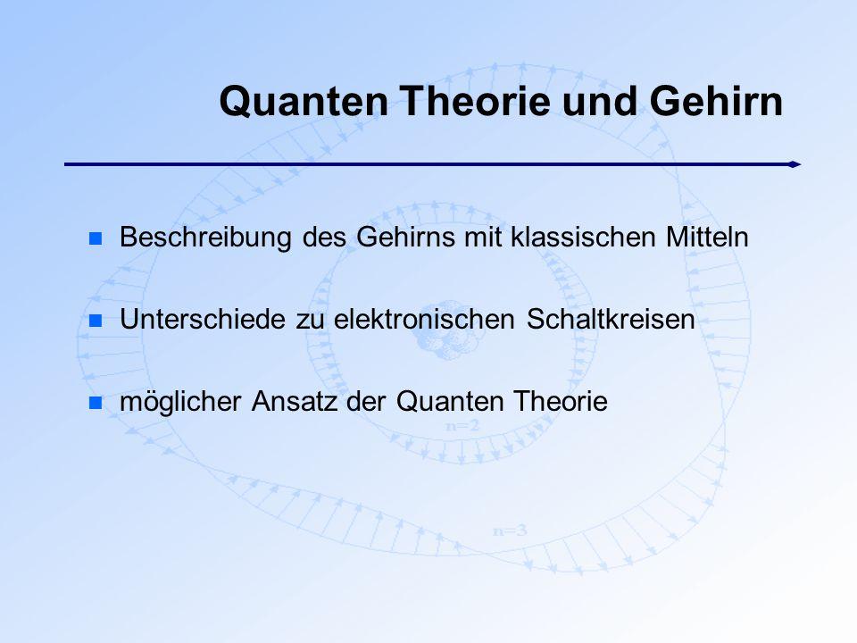 Quanten Theorie und Gehirn n Beschreibung des Gehirns mit klassischen Mitteln n Unterschiede zu elektronischen Schaltkreisen n möglicher Ansatz der Qu