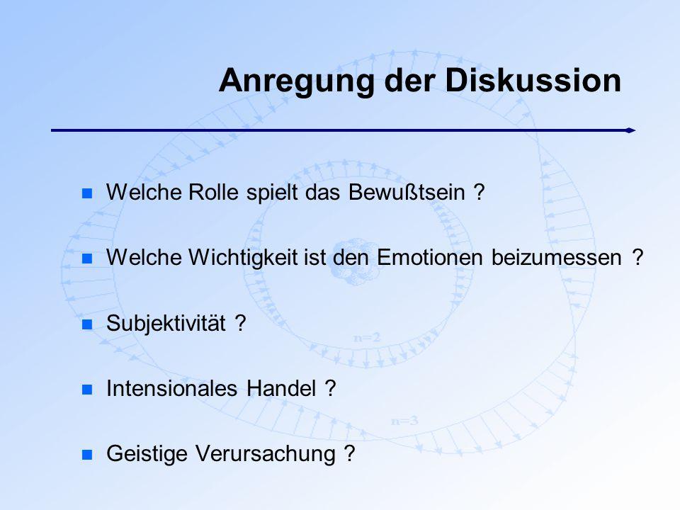Anregung der Diskussion n Welche Rolle spielt das Bewußtsein ? n Welche Wichtigkeit ist den Emotionen beizumessen ? n Subjektivität ? n Intensionales