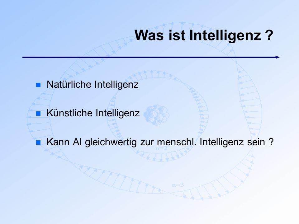 Was ist Intelligenz ? n Natürliche Intelligenz n Künstliche Intelligenz n Kann AI gleichwertig zur menschl. Intelligenz sein ?