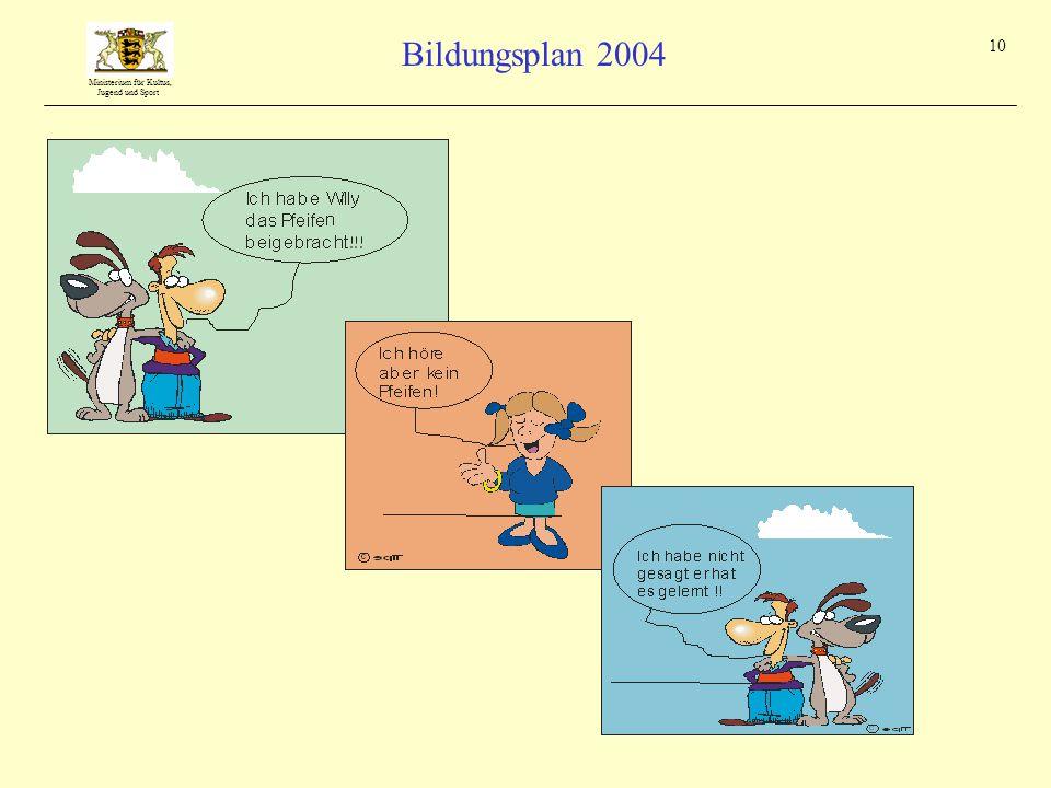 Ministerium für Kultus, Jugend und Sport Bildungsplan 2004 10